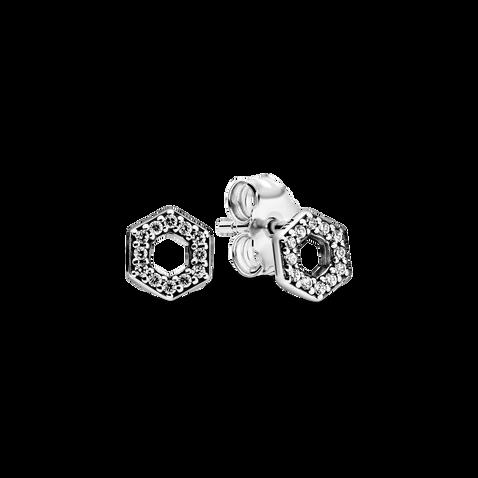 Clous d'oreille scintillants Hexagone de ruche d'abeille - VENTE FINALE