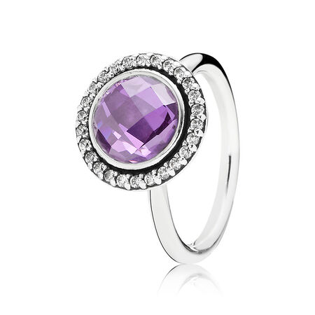 Brilliant Legacy Ring, Purple & Clear CZ, Sterling silver, Purple, Cubic Zirconia - PANDORA - #190904ACZ