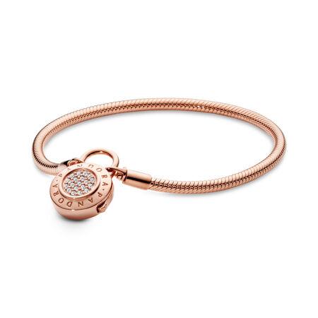 Bracelet souple en PANDORA Rose, fermoir en cadenas Signature, cz incolore