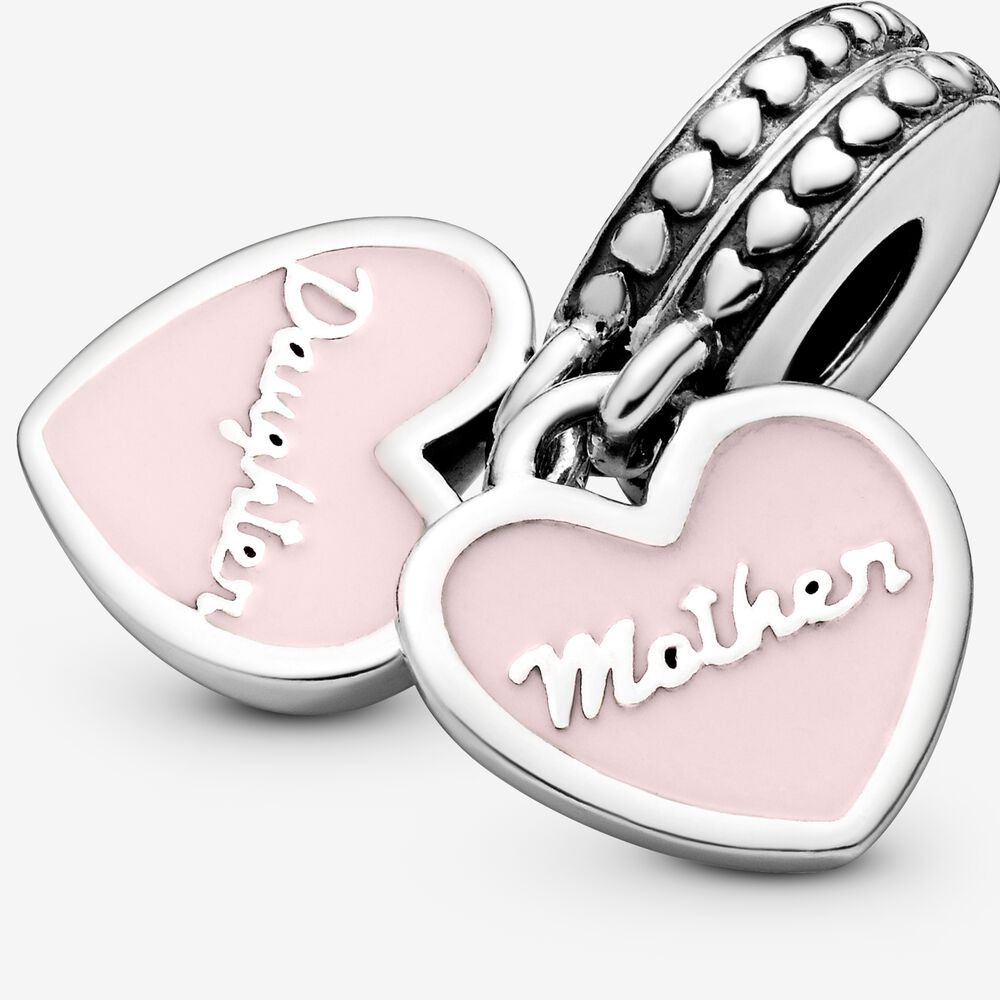 Mother & Daughter Hearts Dangle Charm with Clear CZ   Argent ...