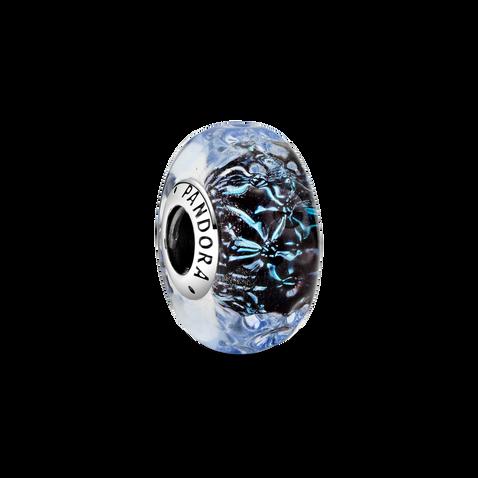 Wavy Dark Blue Murano Glass Ocean Charm
