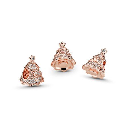 Twinkling Christmas Tree Charm, PANDORA Rose™ & Clear CZ, PANDORA Rose, Cubic Zirconia - PANDORA - #781765CZ