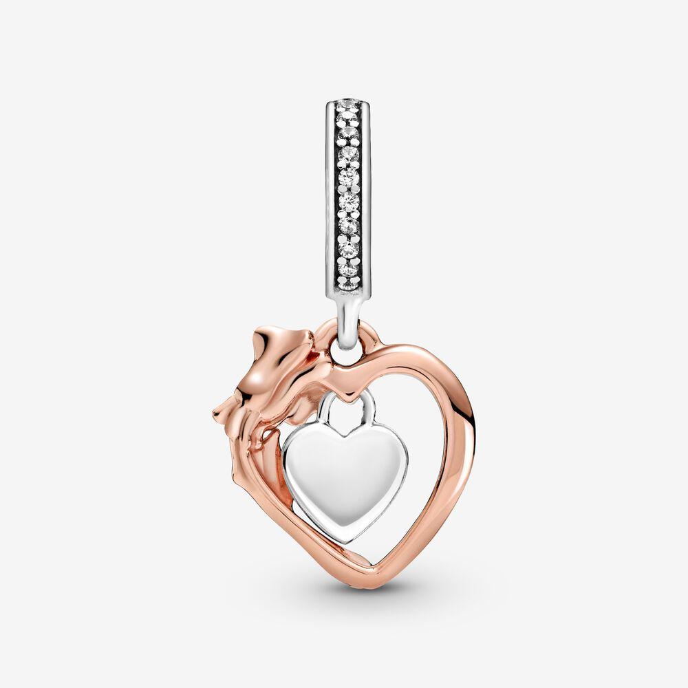 Charm-pendentif Cœur et rose | Bicolore | Pandora Canada