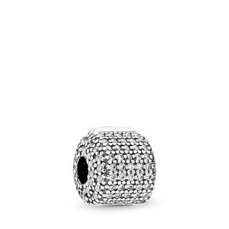 Pavé Barrel, Clear CZ, Sterling silver, Cubic Zirconia - PANDORA - #791873CZ