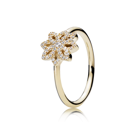 Lace Botanique Ring, 14K Gold & Clear CZ