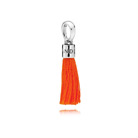 Limited Edition Orange Fabric Tassel Dangle Charm