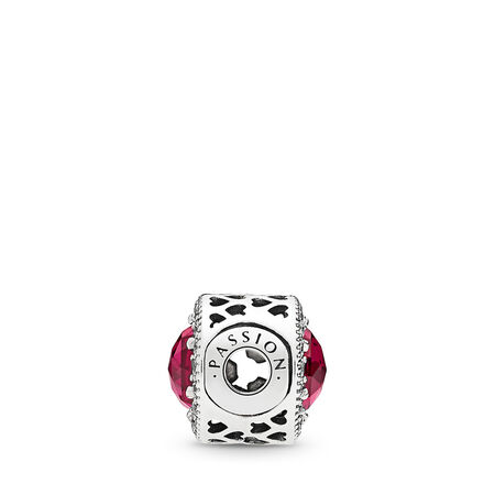 PASSION Charm, Synthetic Ruby & Clear CZ