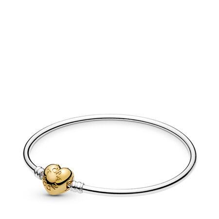 Silver Bangle Bracelet, PANDORA Shine™ Logo Heart Clasp, PANDORA Shine and sterling silver - PANDORA - #567163