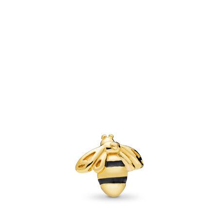 Mini Reine des abeilles, PANDORAShineMC et émail noir, Or Plaqué 18ct, émail, Aucune pierre - PANDORA - #767049EN16
