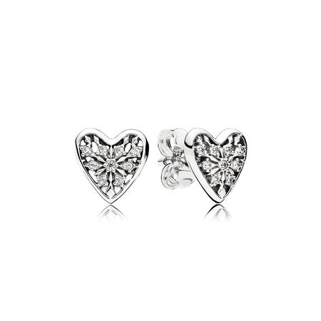 Hearts of Winter Stud Earrings, Clear CZ