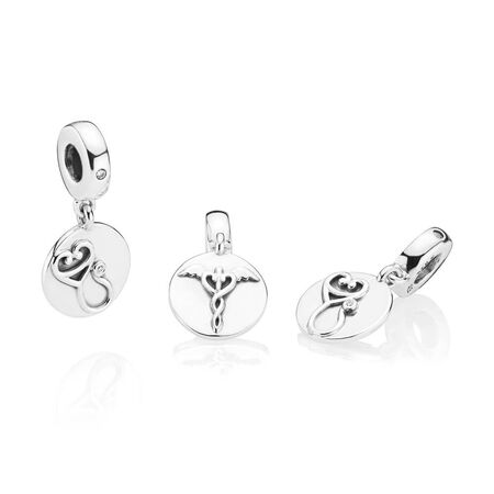 Dazzling Stethoscope Dangle Charm, Clear CZ