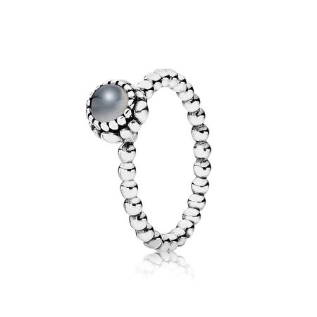 Silver ring, birthstone-June, grey moonstone
