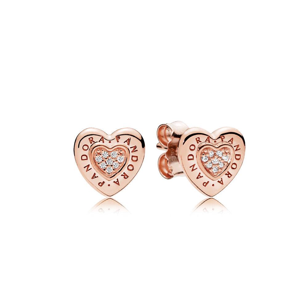 Pandora Signature Heart Stud Earrings Rose Clear Cz