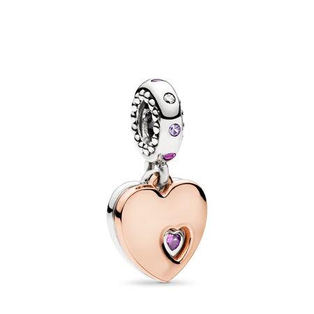 Breloque pendentif deux cœurs, PANDORA Rose with sterling silver, Aucun autre matériel, Rose, Pierres mélangées - PANDORA - #787235CFP