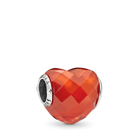 Charm En forme d'amour, zircone cubique orange