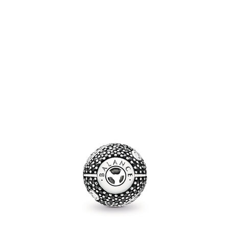 BALANCE, Clear CZ & Black Crystal, Sterling silver, Silicone, Mixed stones - PANDORA - #796053CZ