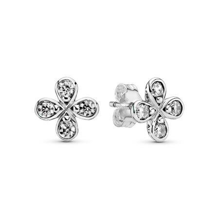 Clous d'oreilles Fleurs à quatre pétales, Argent sterling, Aucun autre matériel, Aucune couleur, Zircon cubique - PANDORA - #297968CZ