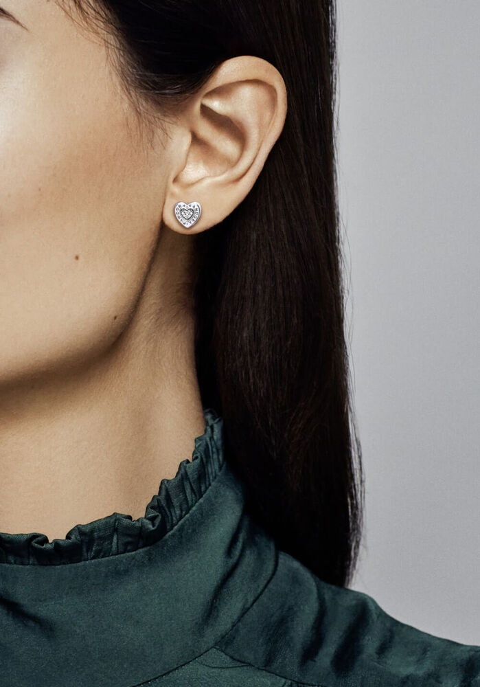 Pandora Signature Heart Stud Earrings Clear Cz Pandora