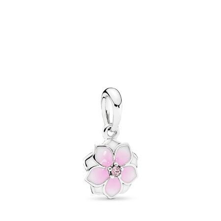Fleur de magnolia, émail cerise pâle et cz rose, Argent sterling, émail, Rose, Zircon cubique - PANDORA - #792086PCZ
