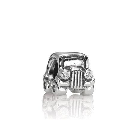 Silver Car Charm, Sterling Silver Oxidised, Cubic Zirconia - PANDORA - #790405CZ
