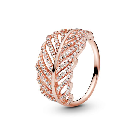 Light As A Feather Ring, PANDORA Rose™ & Clear CZ, PANDORA Rose, Cubic Zirconia - PANDORA - #180886CZ
