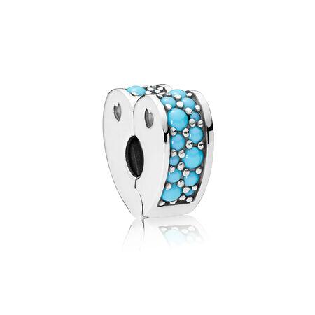 Arcs of Love Clip, Cyan Blue Crystal