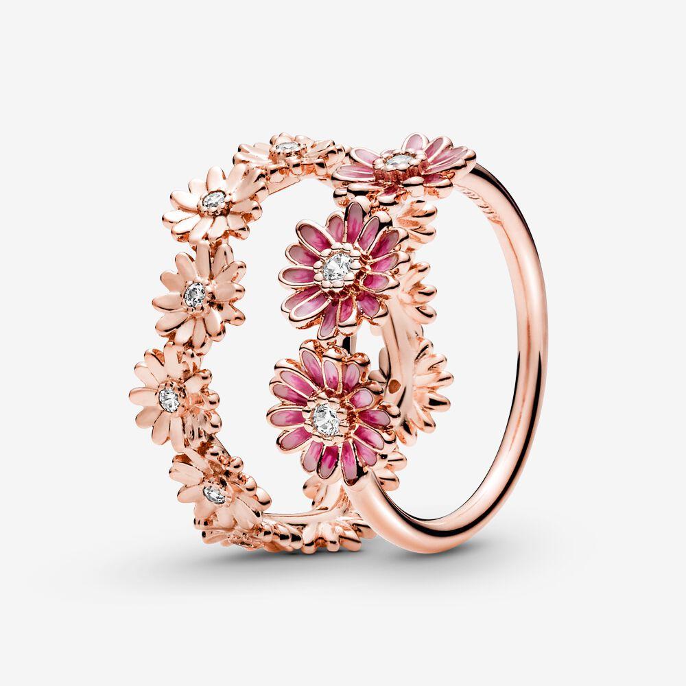 Pandora Rose ensemble d'anneaux de marguerite étincelants | Plaqué ...