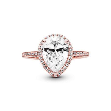 Radiant Teardrop Ring, PANDORA Rose™ & Clear CZ