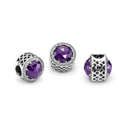 Cœurs radieux, cristal violet royal et cz incolore, Argent sterling, Aucun autre matériel, Mauve, Pierres mélangées - PANDORA - #791725NRP