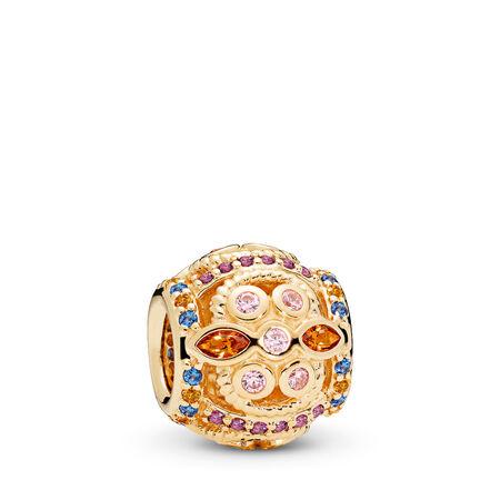 Colour Fresco Charm, 14K Gold & Multi-Coloured Crystals & Pink CZ