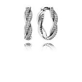 Twist Of Fate Earrings, Clear CZ