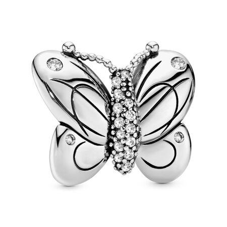 Clip Papillon décoratif, Argent sterling, Aucun autre matériel, Aucune couleur, Zircon cubique - PANDORA - #797880CZ