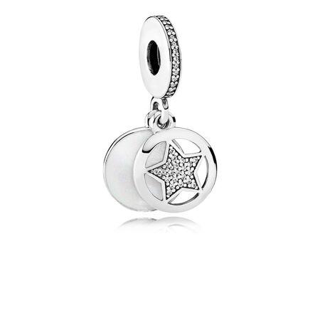 Friendship Star, Silver Enamel & Clear CZ