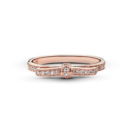 Sparkling Bow Ring, PANDORA Rose™ & Clear CZ