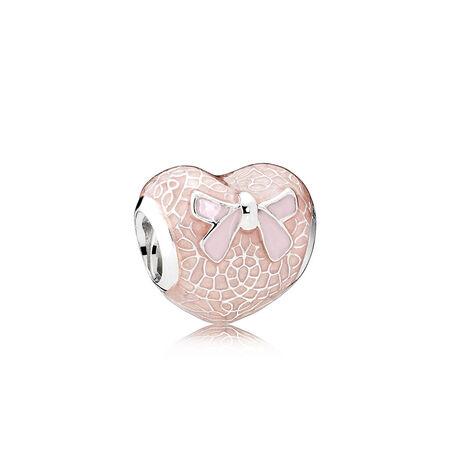 Pink Bow & Lace Heart, Transparent Misty Rose & Soft Pink Enamel