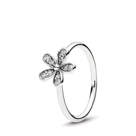 Dazzling Daisy Stackable Ring, Clear CZ, Sterling silver, Cubic Zirconia - PANDORA - #190932CZ