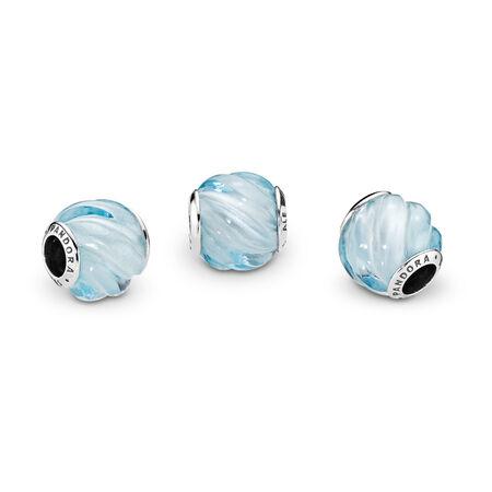 Blue Ripples Charm, Aqua Blue Crystal, Sterling silver, Blue, Crystal - PANDORA - #797098NAB