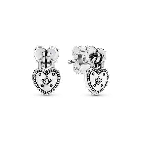 Love Locks Dangle Earrings, Sterling silver - PANDORA - #296575