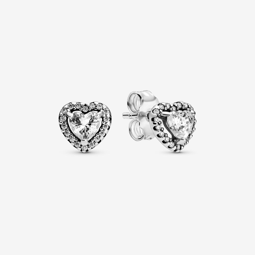 Elevated Heart Stud Earrings   Sterling silver   Pandora Canada