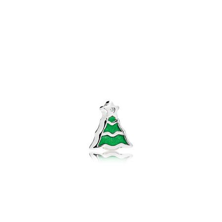 Christmas Tree Petite Charm, Green Enamel & Clear CZ