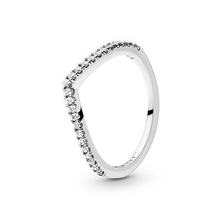 Sparkling Wishbone Ring, Sterling silver, Cubic Zirconia - PANDORA - #196316CZ
