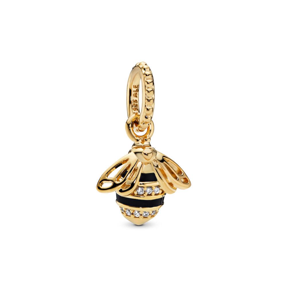 f24fda523 Queen Bee Pendant, PANDORA Shine™, Black Enamel & Clear CZ