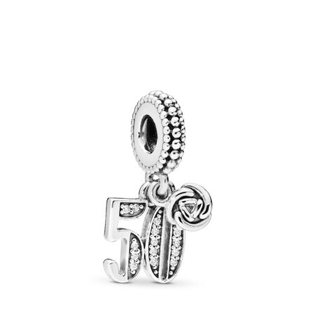 50 Years of Love Dangle Charm, Clear CZ