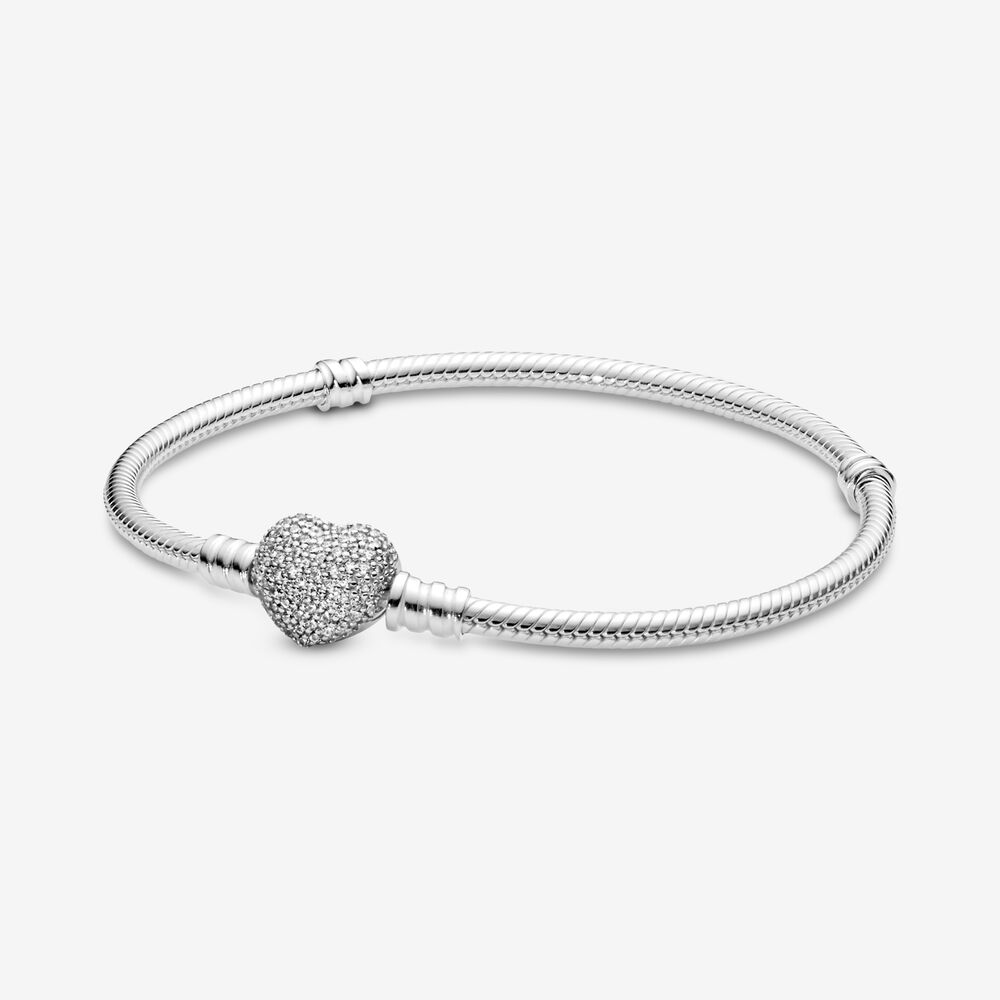 Pave Heart Bracelet With Cubic Zirconia Sterling Silver Pandora Canada