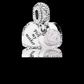Mother's Rose, Pink Enamel & CLear CZ