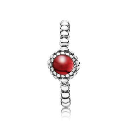 Silver ring, birthstone-January, garnet