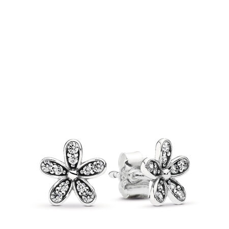 Dazzling Daisy Stud Earrings, Clear CZ, Sterling silver, Cubic Zirconia - PANDORA - #290570CZ
