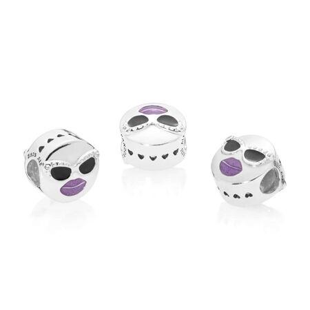 Charm Toujours cool, émail noir et violet et cz incolore