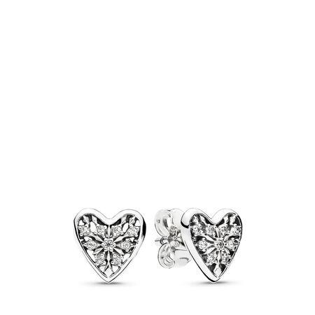 Boutons d'oreilles Cœurs de l'hiver, cz incolore, Argent sterling, Aucun autre matériel, Aucune couleur, Zircon cubique - PANDORA - #296368CZ