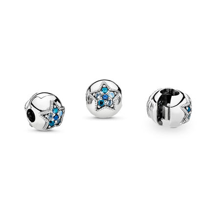Bright Star Clip, Multi-Colored Crystals, Sterling silver, Blue, Crystal - PANDORA - #796380NSBMX